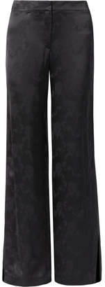 Theory Satin-jacquard Wide-leg Pants - Navy