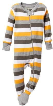 Burt's Bees Baby Organic Cotton Tri Color Striped Zip Sleeper Footie (Baby Boys)