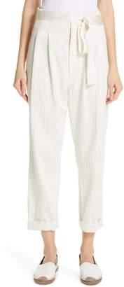 Brunello Cucinelli Paperbag Waist Chevron Weave Cotton & Linen Pants