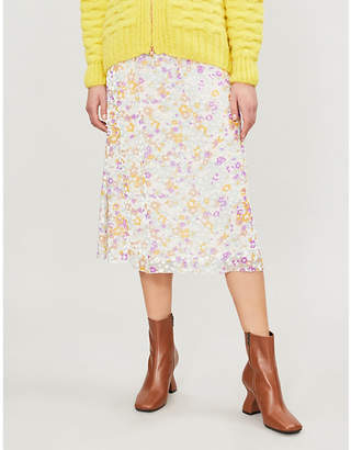 See by Chloe High-waist floral-print silk-devoré midi skirt