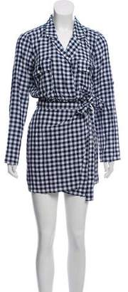 Majorelle Gingham Wrap Mini Dress