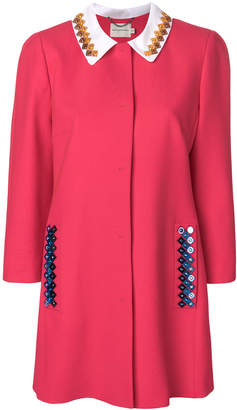 Mary Katrantzou contrast collar coat