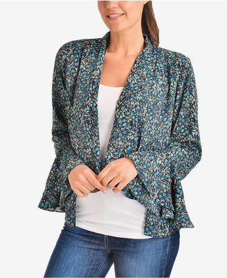 NY Collection Printed Bell-Sleeve Blazer