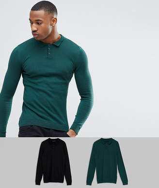 Green & Black Asos Design ASOS 2 Pack Knitted Muscle Fit Polo In Green/Black SAVE