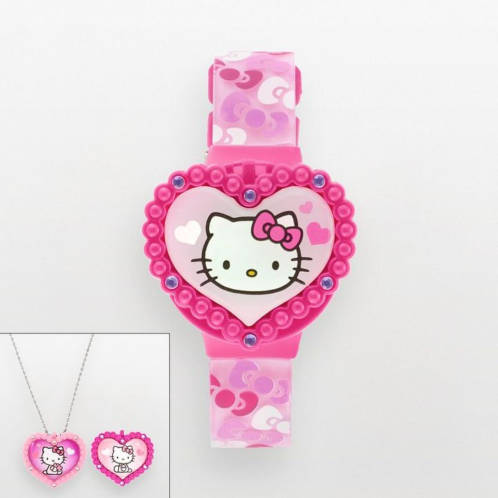 Hello Kitty silver tone simulated crystal heart digital watch and interchangeable pendant set - kids