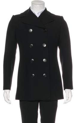 Dolce & Gabbana Leather-Trimmed Wool Peacoat