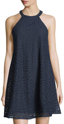 Taylor Halter-Neck Lace A-Line Dress