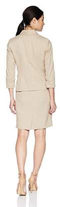 Le Suit Women's Petite Novelty 1 Button Shawl Collar Skirt Suit