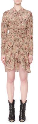 Isabel Marant Long-Sleeve Printed Silk Asymmetric Mini Dress