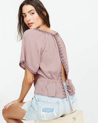 Abercrombie & Fitch Embroidered Peasant Top