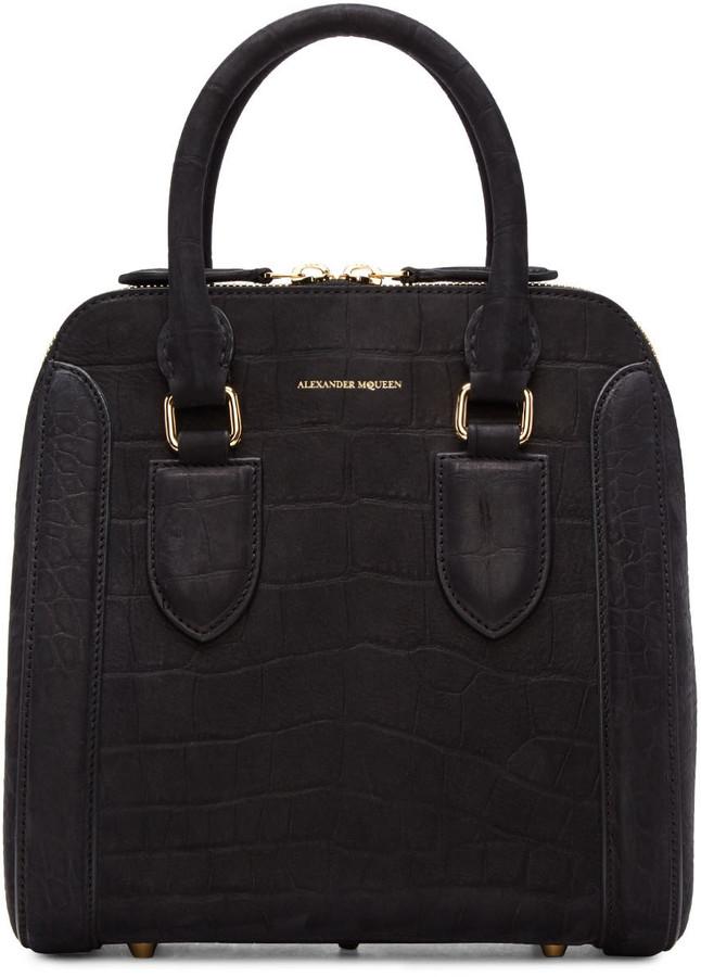 Alexander McQueenAlexander McQueen Black Croc-Embossed Medium Heroine Bag