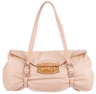 pradaPrada Crocodile-Trimmed Push Lock Shoulder Bag