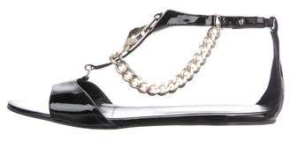 Just Cavalli Patent Leather Chain-Link Sandals