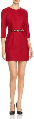 Paule Ka Belted Virgin Wool Mini Dress