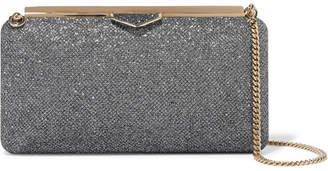 Jimmy Choo Ellipse Glittered Leather Clutch - Charcoal