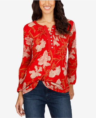 Lucky Brand Floral-Print Henley Top $49.50 thestylecure.com