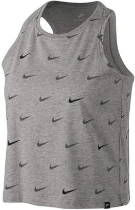 Nike Sportswear Cotton Logo-Print Cropped Racerback Tank Top