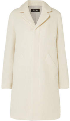 A.P.C. Eleven Ribbed Wool And Mohair-blend Coat - Cream