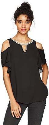 Amy Byer A. Byer Women's Cold Shoulder Ruffle Sleeve Top with Neck Trim (Junior's)