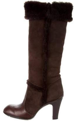 Hogan Shearling-Trimmed Knee-High Boots