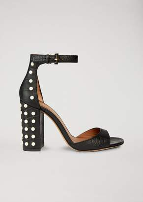 Emporio Armani Sandal In Crocodile Print Leather With Appliques