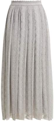 Missoni Lace-trimmed pleated knit midi skirt