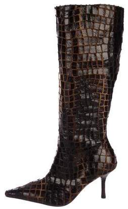 Diego Dolcini Embossed Knee-High Boots