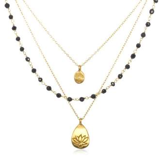 Satya Jewelry Classics Onyx Lotus and Tree of Life Triple-Chain Necklace (18-Inch)