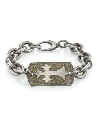 Mr. Lowe Men's Diamond Pave Cross Bracelet, Size M