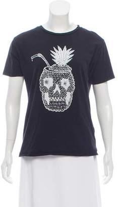 Saint Laurent Pineapple Skull Short Sleeve T-Shirt