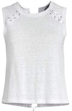 Generation Love Jones Linen Lace-Up Top