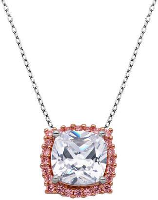 SPARKLE ALLURE Sparkle Allure Multi Color Cubic Zirconia Bronze 18 Inch Cable Square Pendant Necklace