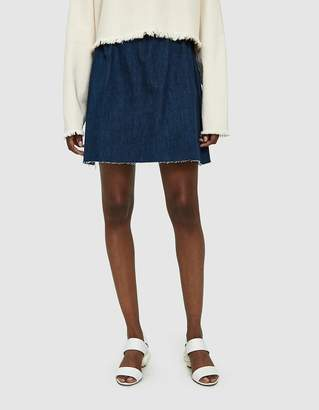 Ashley Rowe Short Denim Skirt in in Dark Wash