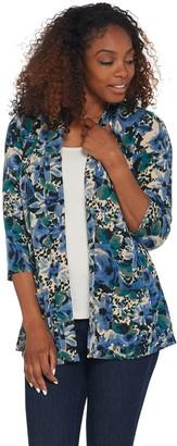 Denim & Co. Printed Brushed Heavenly Jersey 3/4-Sleeve Peplum Cardigan