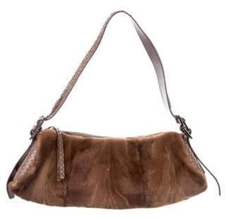 Tod's Python-Trimmed Fur Bag