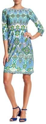 London Times Printed Elbow Sleeve Dress