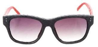 Linda Farrow Snakeskin Colorblock Sunglasses