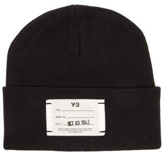 Y-3 Y 3 Logo Label Ribbed Cotton Beanie Hat - Mens - Black