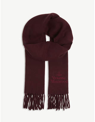 Vivienne Westwood Logo embroidered wool scarf