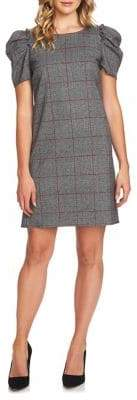 CeCe Scarlet Dream Puffed-Sleeve Plaid Shift Dress