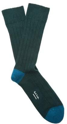 Paul Smith Ribbed Knit Socks - Mens - Green