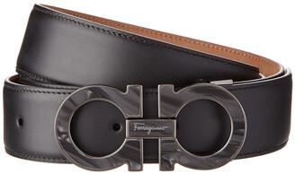Salvatore Ferragamo Double Gancio Adjustable Marble Buckle Leather Belt