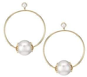Kate Spade Faux Pearl Hoop Earrings