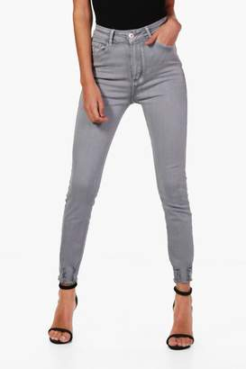 boohoo Lara High Waist Distressed Ankle Skinny Jeans