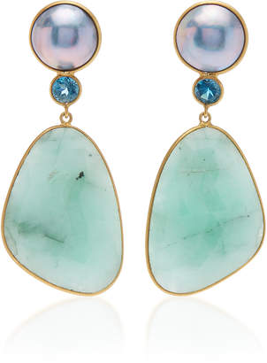 Of A Kind Bahina One Earrings with Blue Mabe Pearl London Blue Topaz and Emerald