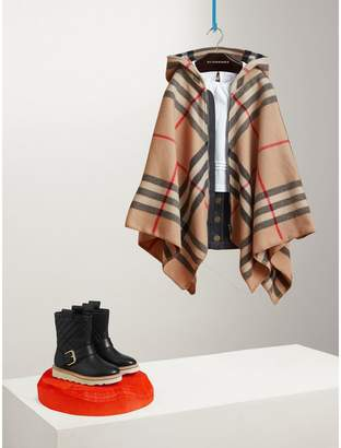 Burberry Check Wool Cashmere Hooded Poncho