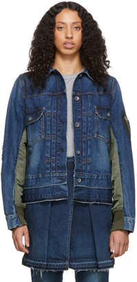 Sacai Blue and Khaki Denim Nylon Back Jacket