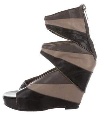 Rick Owens Leather Knee-High Wedge Sandals