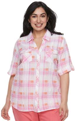 Plus Size Cathy Daniels Plaid Button Front Top