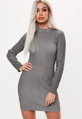 Missguided Gray High Neck Long Sleeve Dress